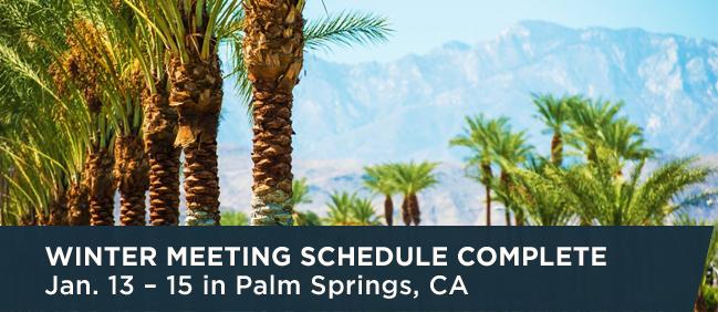 Winter Meeting Schedule Complete